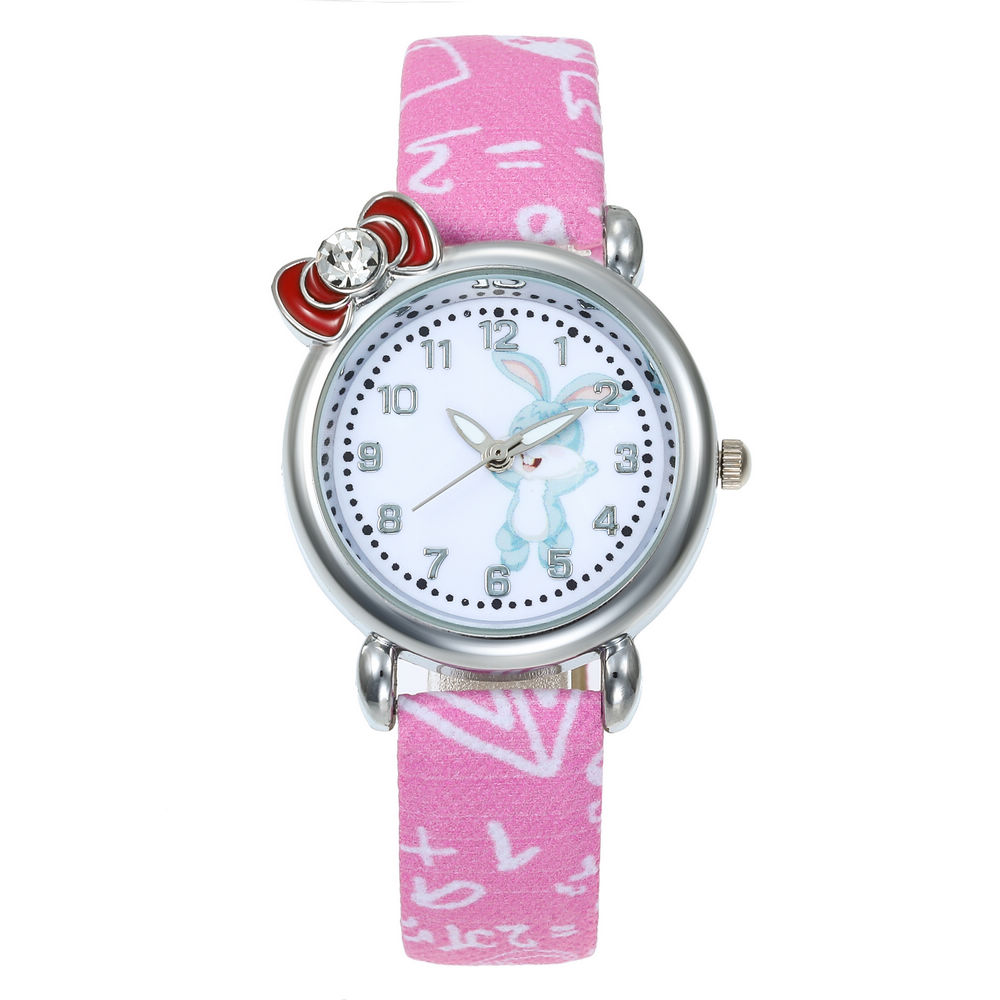 New Cartoon Leather Strap Kids Watch Children Girls Ladies Wristwatch Quartz Diamond Rabbit Desgin Watches Relogio Saati Clock