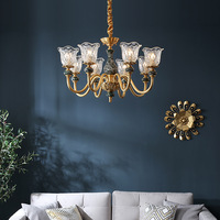 European Chandeliers Nordic Copper Living Room Dining Led Hanging Lighting New Luxury Crystal Bedroom Hotel Villa Home Deco Lamp