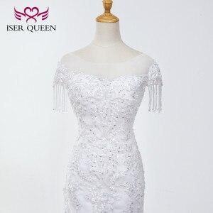Image 4 - O neck pesado beading sereia vestido de casamento branco puro borla vestido de noiva bordado tule rendas até vestidos de casamento wx0042