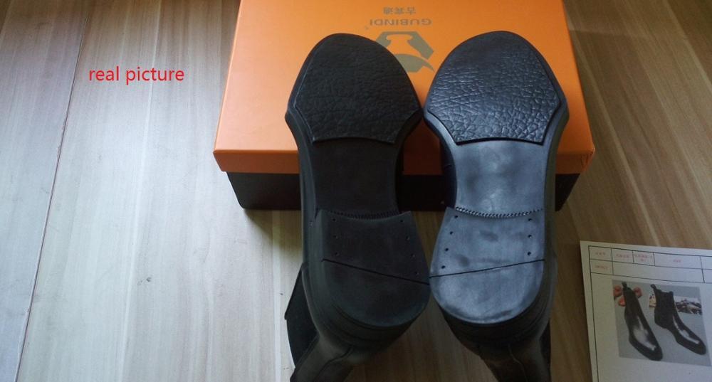 Hommes cuir de vachette Martin bottes printemps automne confortable noir Simple mode élastique bottines hommes angleterre Style haut - 6