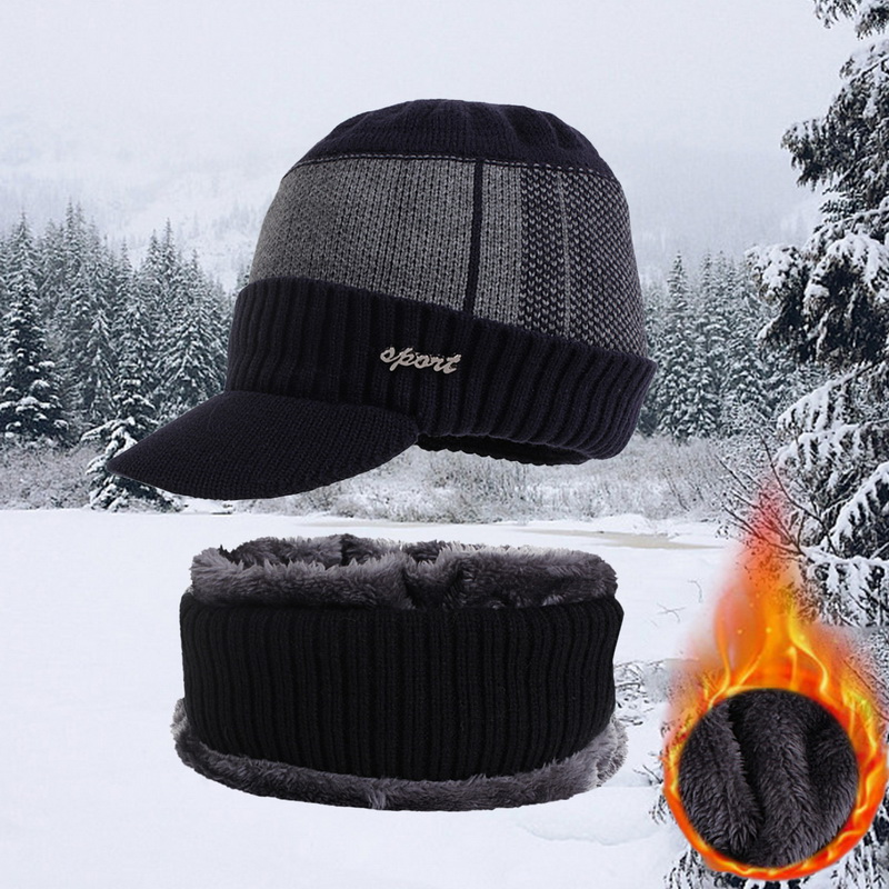Men's Winter Hat Skullies Wool Scarf Hat