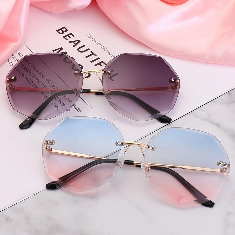Fashion Rimless Gradient Sunglasses Women Brand Designer   Shades Cutting Lens Metal Frames Vintage Sun Glasses Oculos De Sol