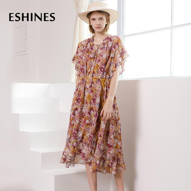 ESHINES Designer de piste Chic élégant robe mi-longue été Floral imprimé v-cou volants manches papillon à lacets ceintures Boho robe