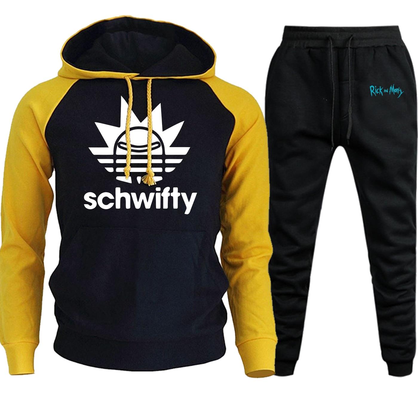 Rick And Morty Streetwear Mens Raglan Hoodies Autumn Winter 2019 Suit Cartoon Fleece Pullover Hip Hop Hooded+Pants 2 Piece Set