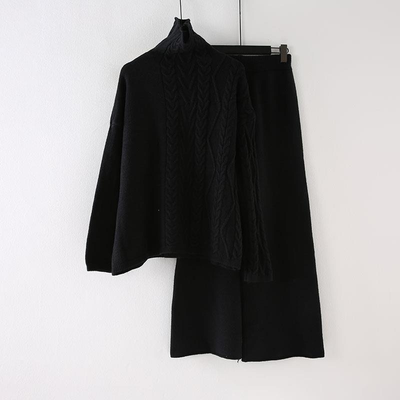 Winter Pullover Hohe Taille Hosen Zwei Stück Set Casual Frauen Rollkragenpullover Breite Bein Hosen Strick Anzug Lange Feste Outfits - 6