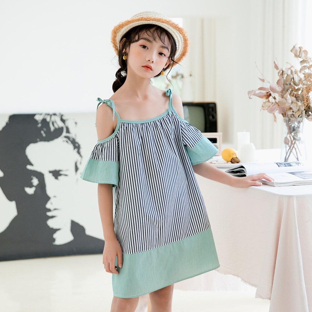 2020 Summer New Sleeveless Girls Dresses Kids Casual Camisole Dresses for Teen Girls Fashion Baby Girls Stripe Dresses, #9055