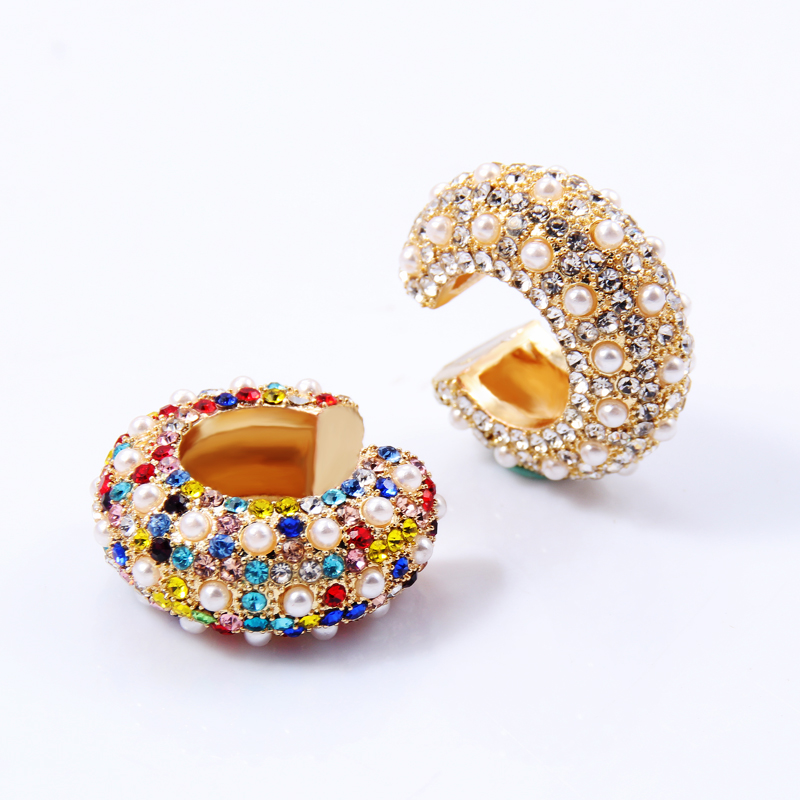 Itenice Bohemia Peral Ear Cuff For Women Girl Multicolor Stackable C Shaped Rhinestone Earcuffs Clip Crystal Earrings Jewelry