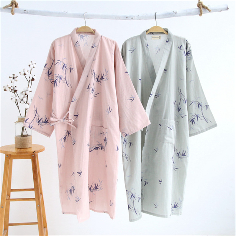100% Cotton Robes Couple Models Kimono Men And Women Nightgown Home Service Pajamas Nightdress Casual Loose Dressing Gown