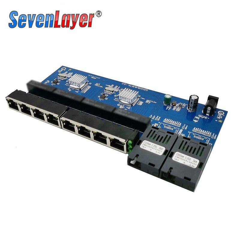 Clearance Sale10/100/1000M Gigabit Ethernet switch Fiber Optical Media Converter PCBA 8 RJ45 UTP and 2 SC fiber Port Board PCB