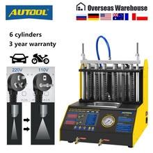 Autool CT200 araç yakıt enjektörü temizleme makinesi otomatik ultrasonik temizleyici test cihazı 6 benzinli silindir lansmanı daha CNC602A