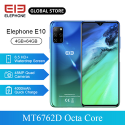 Перейти на Алиэкспресс и купить elephone e10 mobile phone octa core mt6762d 6.5дюйм. hd+ 4gb 64gb 4000mah quick charging android 10 nfc side fingerprint smartphone