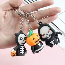 1pc Cute Halloween Pumpkin Keychain Death God Creative Student Bag Decoration Chain Pendant Couple Personality Car Key Ring(China)