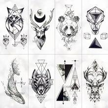 Autocollants de tatouage temporaire, imperméables, baleine, lune, cerf, Rose, Flash, pour enfants, femme, noir, Art corporel, faux tatouage