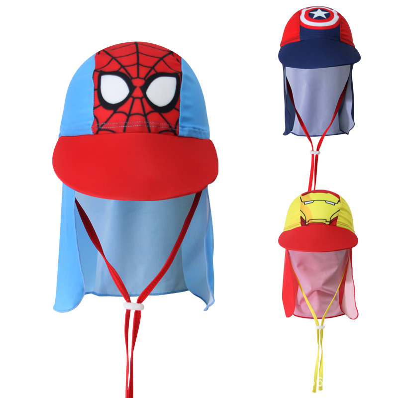 Kids Children Summer UPF 50+ UV Protection Outdoor Beach Sun Hat Boy Girl Swim Cover Flap Cap Adjustable Dinosaur Cap Swimwear