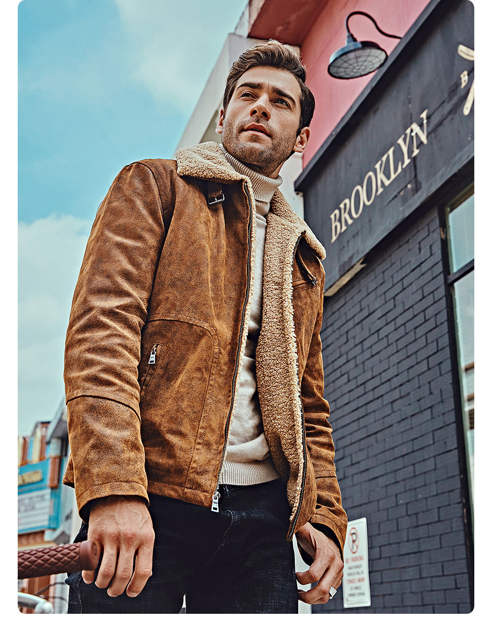 H1b93436de82047ac982b730ed693ecfbJ FLAVOR New Men's Genuine Leather Motorcycle Jacket Pigskin with Faux Shearling Real Leather Jacket Bomber Coat Men