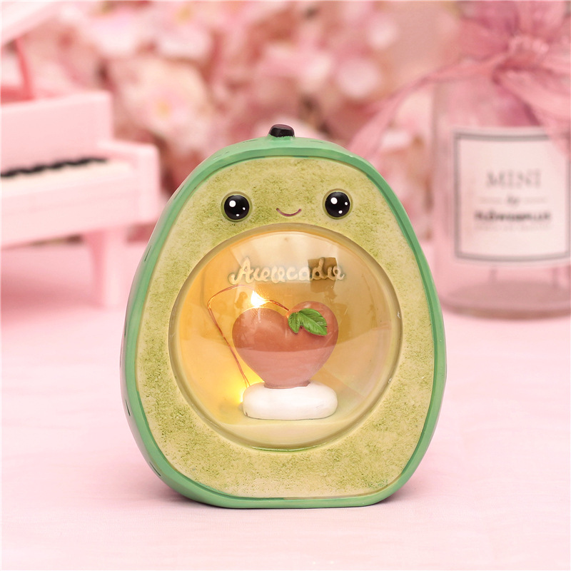 Cute Resin Avocado LED Novetly Light Fruit Decoration Lamps Baby Nursery Bedside Lamps Toys Christmas Birthday Gift For Kids