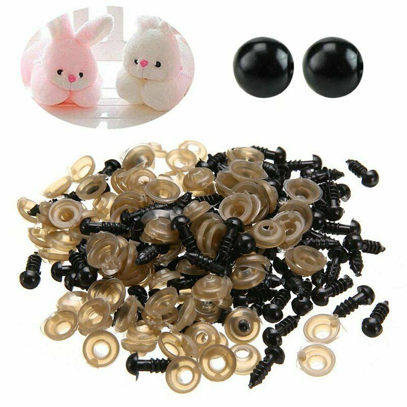 100 Pcs 6mm - 20mm Black Plastic Doll Eyes Safety Eyes For Toys Stuffed Toys Animal  Puppet Dolls Craft Eyes For Toy 8 10 14mm