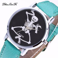 Skeleton Skull Pattern Quartz Watch Alloy Round Dial Leather Slim Strap Casual S