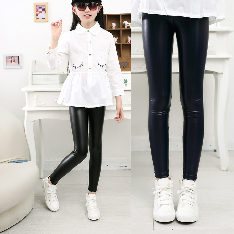 Girl Legging Trousers Pencil-Pants Spring Skinny Faux-Pu-Leather Autumn Baby-Girls-Boys
