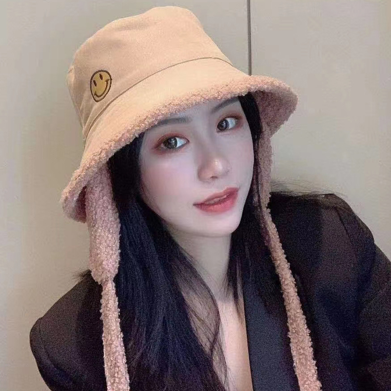 Lamb Wool Fisherman Hat Lady Ear Protection Warm Double-sided Wearing Embroidered Smiling Face Winter Hat Cycling Cold Basin Hat