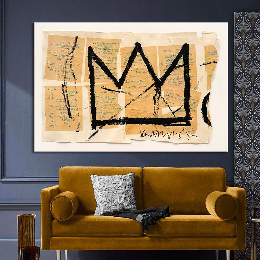 Basquiat-pintura abstracta en lienzo para pared de Graffiti, pósteres e impresiones artísticos de rey, corona, imágenes de pared para decoración para sala de estar