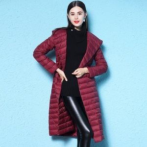 Image 5 - Fitaylor New Winter Women Ultra Light Duck Down Long Coat Single Breasted Plus Size Warm Snow Outwear Slim Hooded Parkas