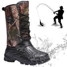 Botas de pesca para hombre, calzado para acampar al aire libre, botas de caza impermeables, Botas de senderismo para hombre, calzado térmico antideslizante para escalada, zapatos de pesca para hombre
