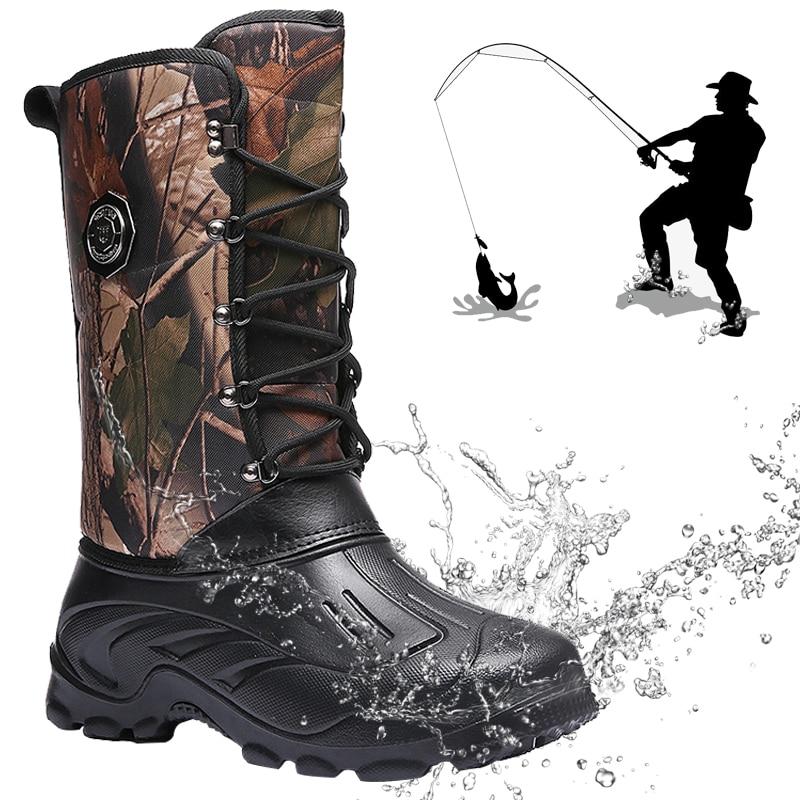 Fishing Boots Men Outdoor Camping Shoes Waterproof Hunting Boots Hiking Men Tactics Climbing Non-Slip Thermal Shoes Men Fishing
