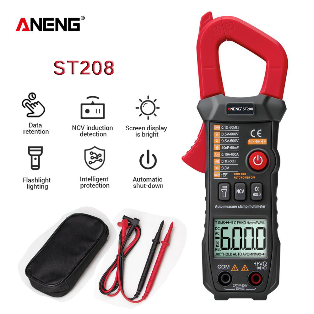 ANENG ST208 Digital Clamp Meter Multimeter Car 6000 Counts AC/DC Current Measure Transistor Tester Voltimetro Amperimetro