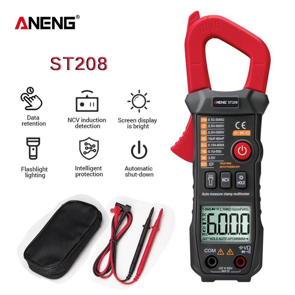 ANENG ST208 Digital Clamp Meter Multimeter Car 6000 counts AC/DC Current Measure Transistor Tester Voltimetro AmperimetroMultimeters   -