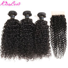 Mechones de onda de agua brasileño con cierre 4*4 Cierre de encaje libre/Medio/tres Partes Color Natural envío gratis Remy cabello KissLove