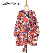 TWOTWINSTYLE Hit Color Mini Dress For Female O Neck Long Sleeve High Waist Lace Up Printed Casual Dresses Female 2021 Spring