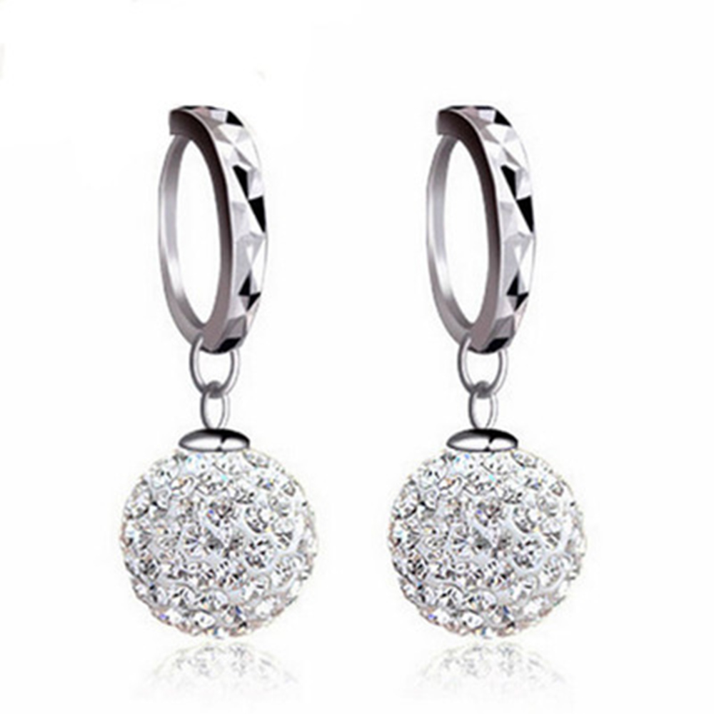 925 Sterling Silver Earrings Rhinestone Sphere Christmas Gift Micro Inlay Cubic Zirconia Earrings For Women 2019 Black Friday De
