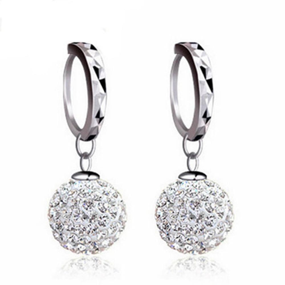 925 Sterling Silver Earrings Rhinestone Sphere Christmas Gift Micro Inlay Cubic Zirconia Earrings For Women 2019 Black Friday De