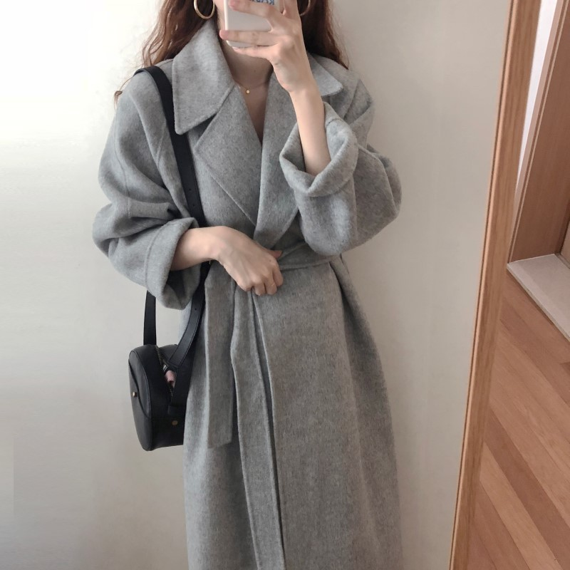 H1b943dd1fb824477b7fc2278eb83f863C Winter Fashion Coats Women Wool-blend Coat Lazy Oaf Long Chunky Warm Coat Western Style Fitted Waist Lace-up  Loose Coat