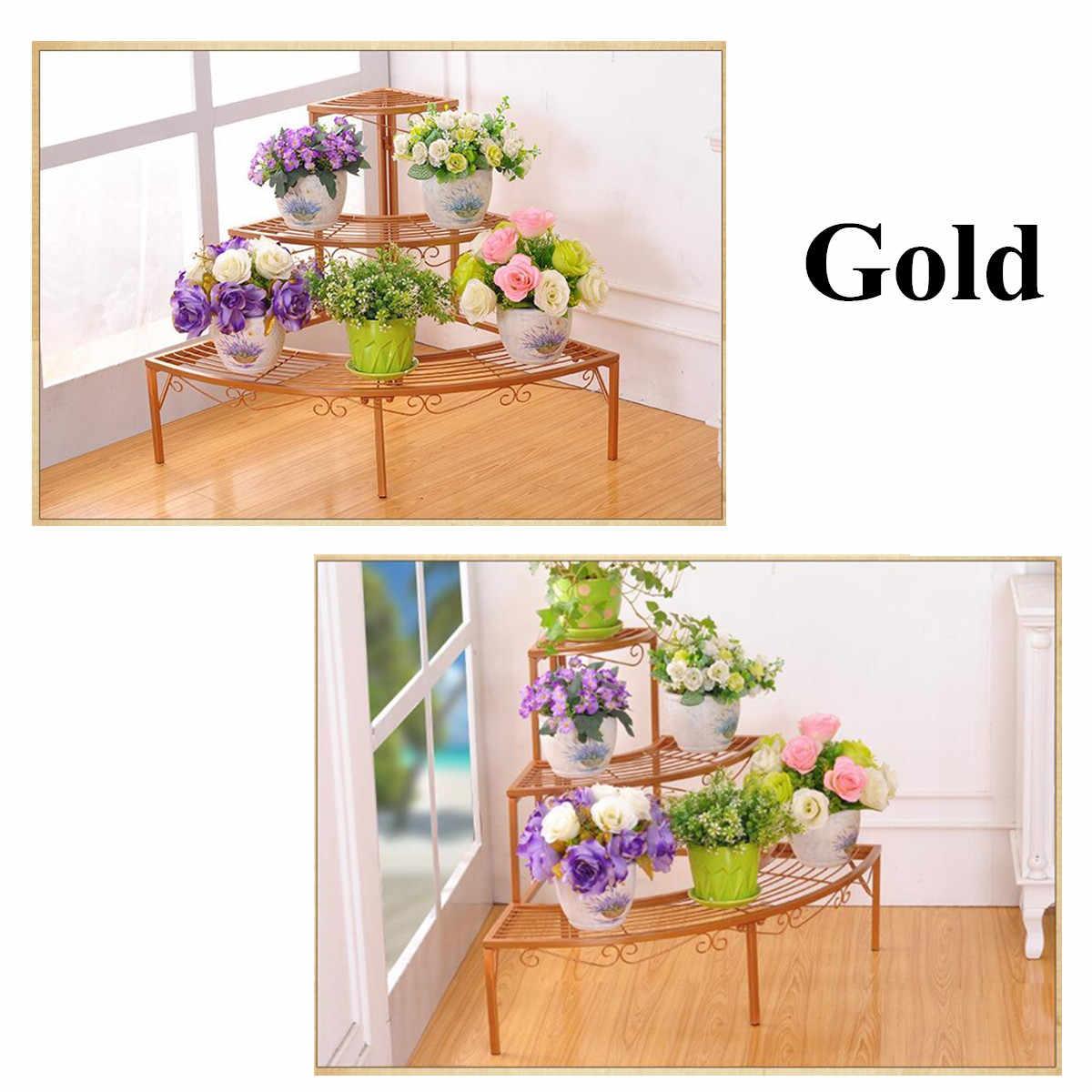 مصنع رفوف زهرة الأواني حامل 3 طبقة طوي حديقة رف سلم مصنع زهرة حامل حديقة الحديد رفوف التخزين عرض