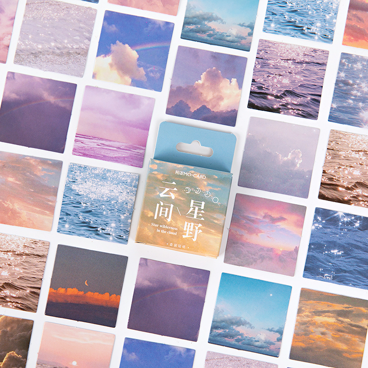 46Pcs/Pack Colorful Clouds Sticky Stickers Paper Decoracion Boxed Scrapbooking DIY Office Stationery School Supplies