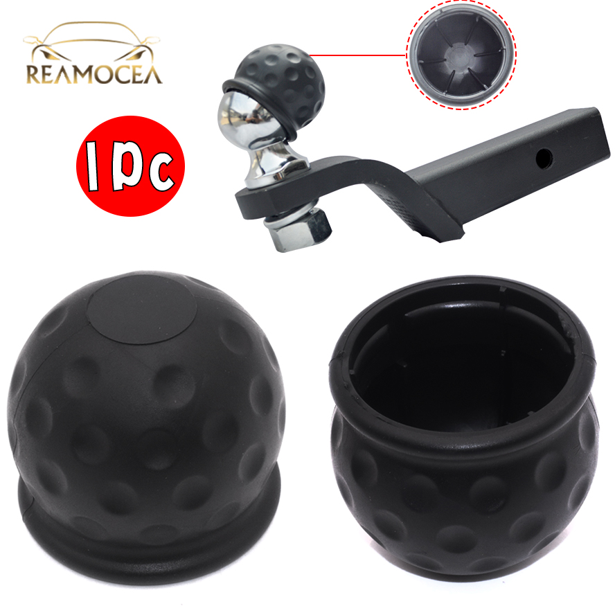Reamocea 1Pc Rubber Universal 50mm Black Tow Bar Ball Cover Protective Cap Towing Hitch Caravan Trailer Towball Head Protector