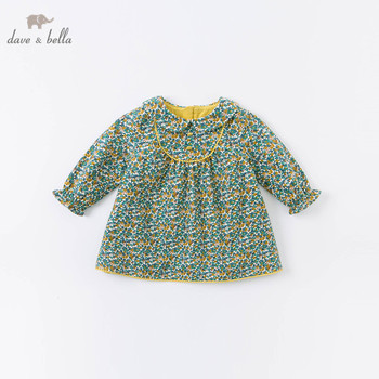 DB14911-2 dave bella autumn baby girl's cute floral print zipper dress children fashion party dress kids infant lolita clothes image