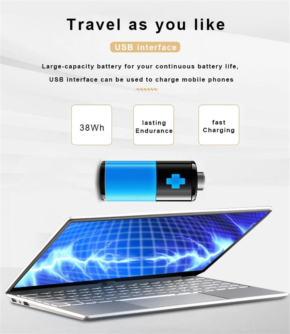 15.6 inch Metal Body Laptop intel i5 5257U 8GB 256 GB 512 GB SSD With Full Layout Keyboard Backlight Fingerprint Unlock Game 5