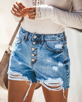 2020 New Fashion Women Summer Ripped Hole Denim Shorts Jeans Women High Waist Casual Shorts Sexy Push Up Skinny Denim Hot Shorts roll up ripped denim shorts