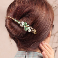 Green coloured glaze Hair grips Sea shell flower Barrettes Large Hair Pins Jewelry Chinese Ethnic Ornaments Hair Accessory Clips