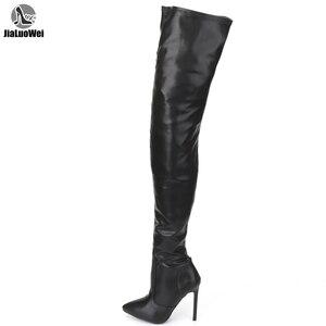 Image 1 - Jialuowei 허벅지 높은 부츠 스틸 레토 발 뒤꿈치 섹시한 전체 지퍼 무릎 긴 부츠 옻칠 한 특허 블랙 플러스 크기 36 46