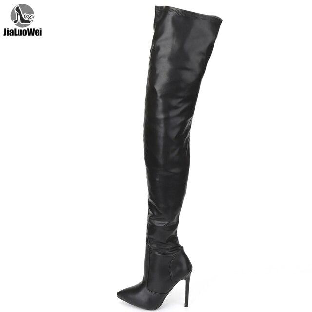 Jialuowei 허벅지 높은 부츠 스틸 레토 발 뒤꿈치 섹시한 전체 지퍼 무릎 긴 부츠 옻칠 한 특허 블랙 플러스 크기 36 46