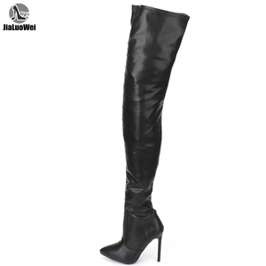 Image 1 - jialuowei Thigh High Boots Stiletto Heels Sexy Full Zipper Over the knee Long Boots Lacquered Patent Black Plus Size 36 46