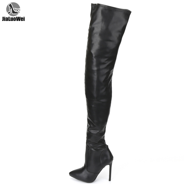 jialuowei Thigh High Boots Stiletto Heels Sexy Full Zipper Over the knee Long Boots Lacquered Patent Black Plus Size 36 46