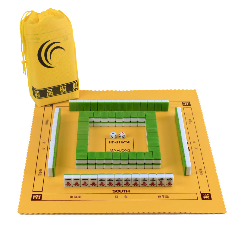 Hot Mini 22MM/24MM Portable Travel Mahjong Set Carry Bag Mah-jong With Leather Table Mat Indoor Entertainment Majiang Board Game