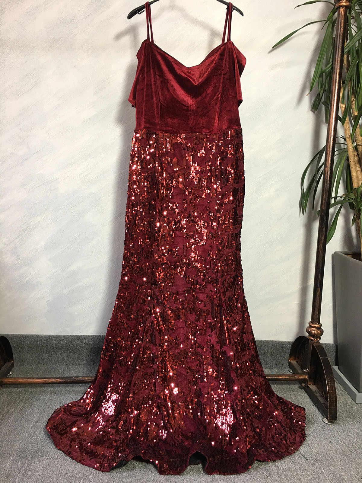 Vestido largo sexy, a la moda, africano, de poliéster, con lentejuelas, de talla grande, 2019