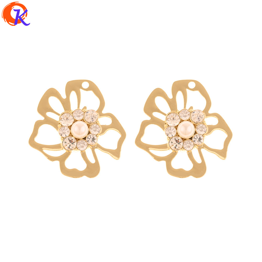 Cordial Design 50Pcs 28*29MM Jewelry Accessories/Earrings Making/DIY/Rhinestone Charms/Flower Shape/Hand Made/Earring Findings