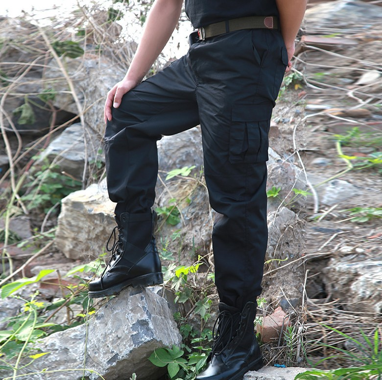 New Style Youth Bib Overall Men Training Pants Sub-Black And White With Pattern Security Staff Pants Multi-pocket Work Pants